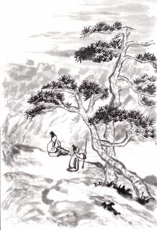 중국어 회화 풍경, 나무와 사람들, 석도에서 무승부 스톡 콘텐츠
