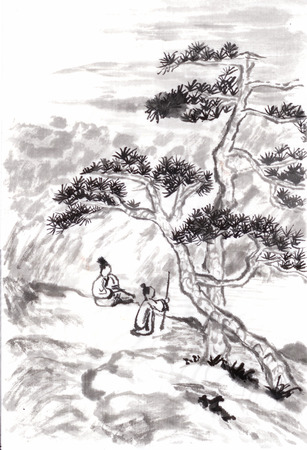 japanese traditional painting: chinese painting landscape ,tree and people,draw from shitao Stock Photo