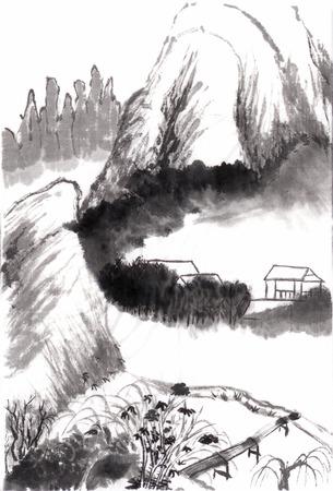 Chinese schilderkunst trekken uit Shitao, op papier