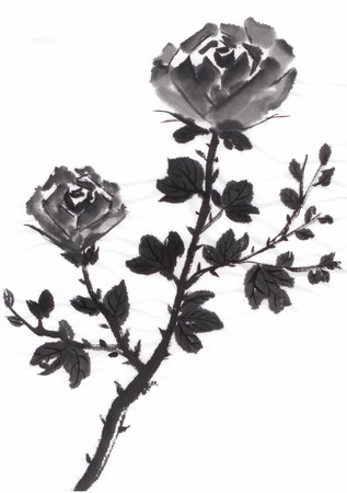 china rose: chinese painting rose by ink, on paper