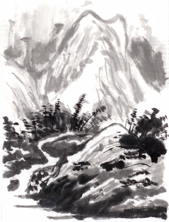 chinese painting draw from shitao,on paper 免版税图像