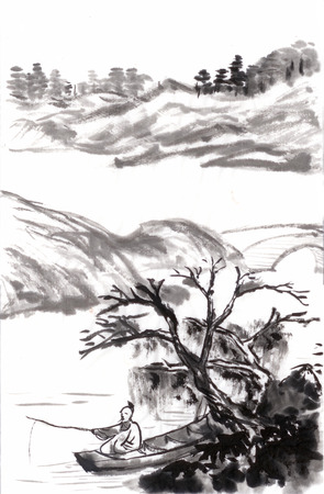 chinese painting fishing draw from shitao,on paper 免版税图像