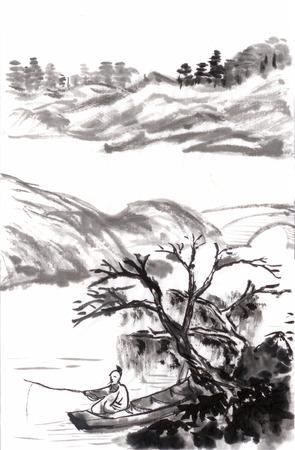 Chinese schilderkunst vissen trekken uit Shitao, op papier Stockfoto