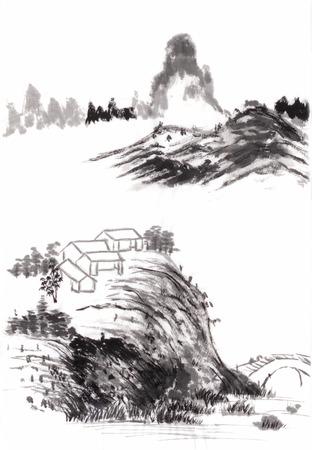 Chinees schilderij landschap op papier Stockfoto - 27460681