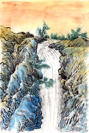 chinese painting of sunset and waterfall Фото со стока