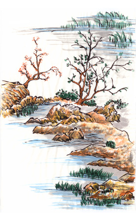 chinese painting landscape of lake tree and flower photo