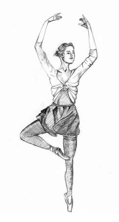 ketch: Ballet girl sketch on paper
