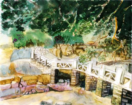 seaside bridge watercolor on paper