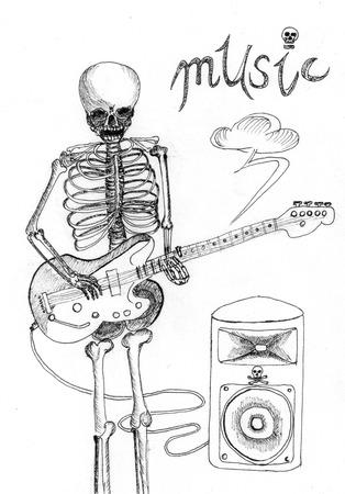 skull music sketch on paper photo