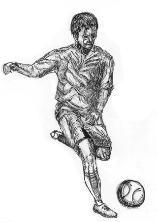 play football sketch on paper photo