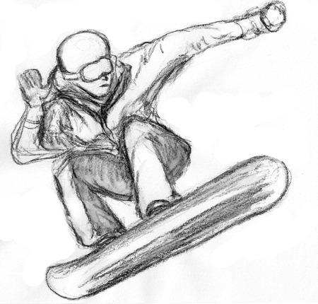 skier skiing illustration,on paper illustration