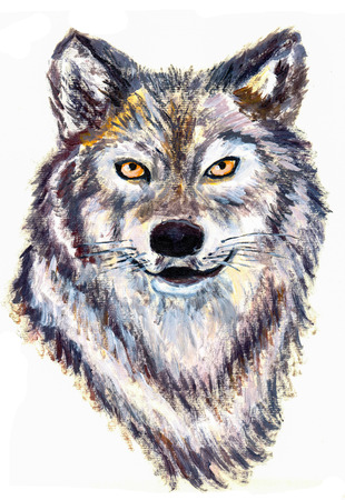 oil painting wolf head on paper photo