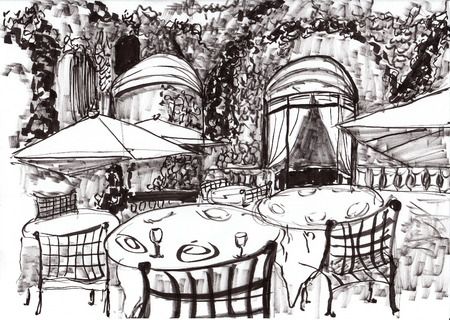 porch chair: hand draw paris coffee shop on paper Stock Photo