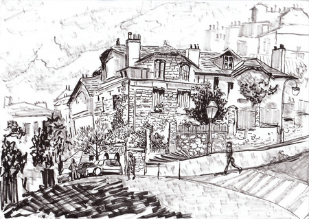 montmartre: hand draw paris street on paper Stock Photo