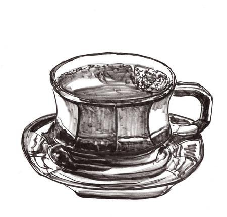 cofee cup: hand draw cofee cup, on paper Stock Photo