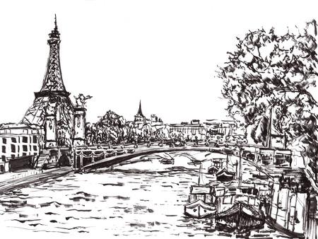 paris river hand draw on paper photo