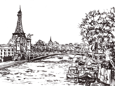 bridge hand: paris river hand draw on paper Stock Photo