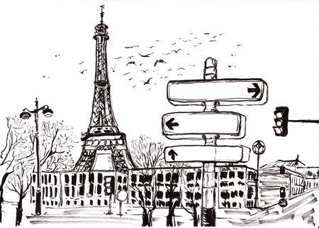 hand draw paris on paper photo