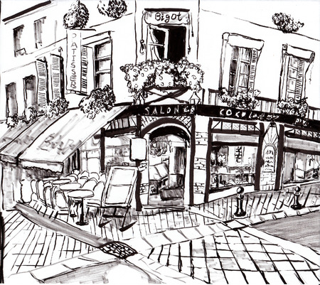 night table: hand draw paris coffee shop on paper Stock Photo