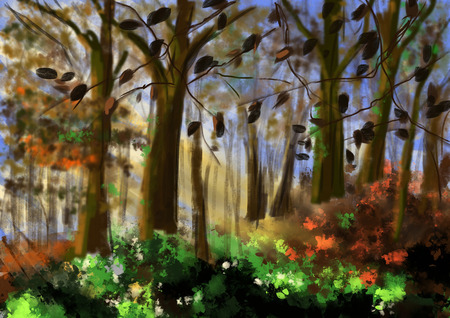 cg: hand draw forest cg paint Stock Photo