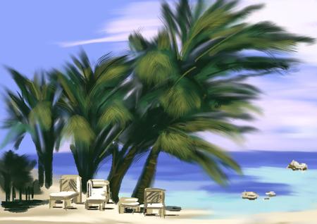 cg: hand draw coconut tree at beach,cg paint