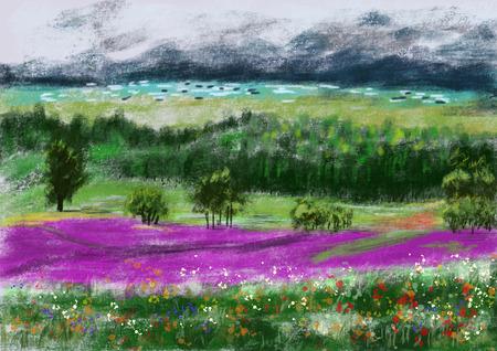 cg: hand draw paint wild field ,cg graphic
