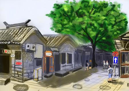 beijing: hand draw peking beijing street cg paint