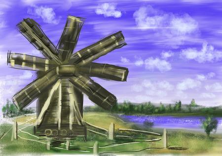 hand draw paint windmill cg paint photo
