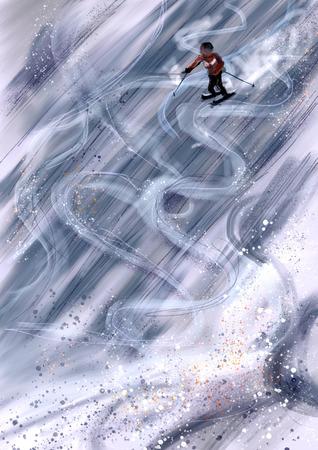 cg: hand draw ski, cg paint