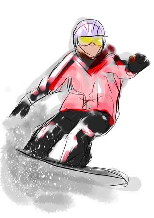 snowboarding: hand draw snowboarding cg paint