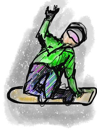 cg: hand draw snowboarding cg paint