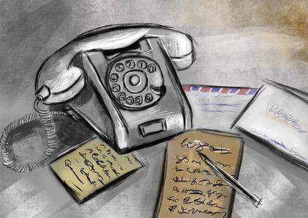 cg: hand draw telephone cg paint Stock Photo
