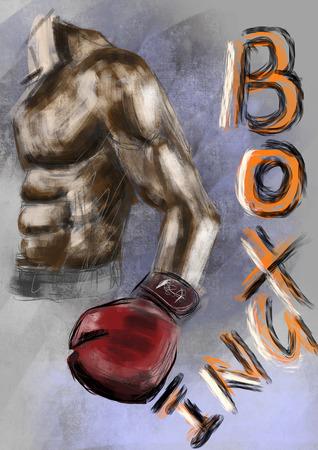 cg: hand draw boxing cg paint Stock Photo