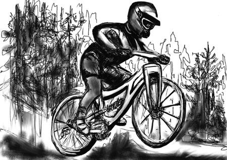 mtb: hand drawn mountain bike Stock Photo