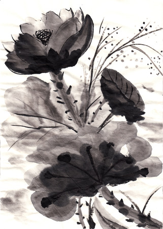 hand drawn chinese painting lotus on paper