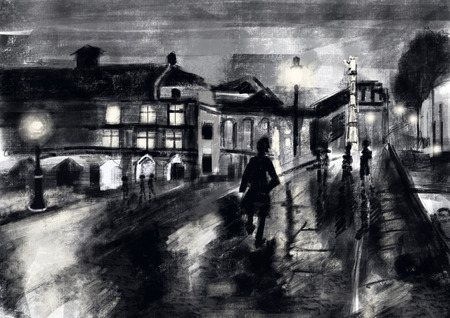 hand drawn street night Stock Photo