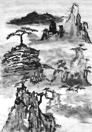Chinees schilderij landschap op papier