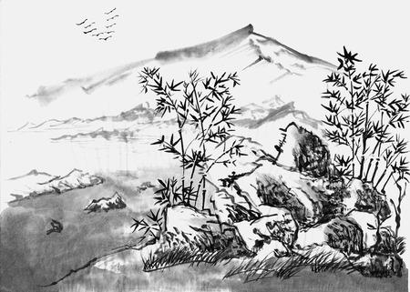 Cinese paesaggio pittura su carta Archivio Fotografico - 39187652