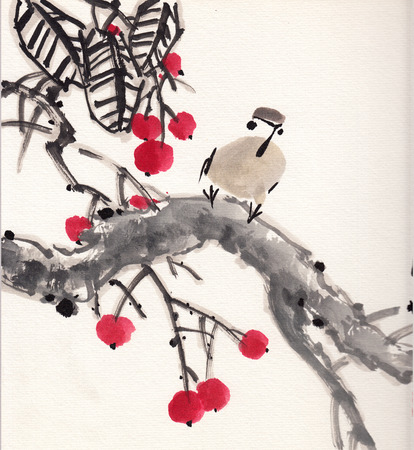 chinese painting bird on paper