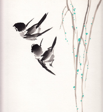 chinese painting birds on paper