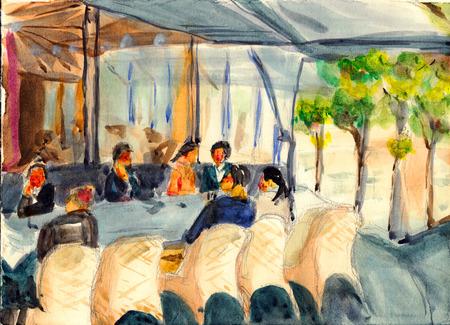 montmartre: Watercolor of coffee bar in Street of Paris