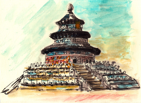 china watercolor paint: watercolor of china beijing tiantan on paper