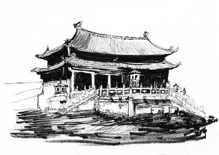 beijing: sketch of china beijing Forbidden City on paper
