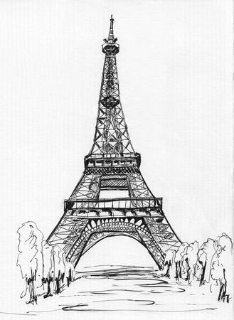 Sketch of Paris Eiffel tower on paper