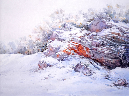 watercolor snow landscape,hand drawn on paper