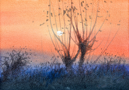 watercolor painting sunset landscape,hand drawn on paper