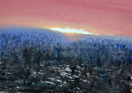 sunset painting: watercolor sunset painting,hand drawn on paper