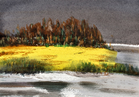 riverside: watercolor riverside hand drawn on paper