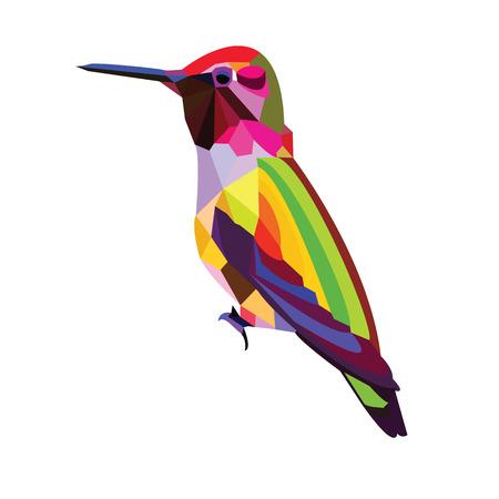 humming: low poly bird design paint