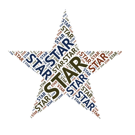 pointed to: word sharp design  five pointed star Stock Photo